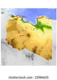 Libya. Physical vector map, colored according to elevation, with rivers and selected cities. Surrounding territory greyed out. 59 named layers, fully editable. Data source: NASA