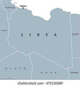 Libya political map with capital Tripoli. Arab country in the Maghreb region of North Africa bordered by the Mediterranean Sea. Gray illustration isolated on white background. English labeling. Vector