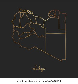 Libya region map: golden gradient outline on dark background. Detailed map of Libya regions. Vector illustration.