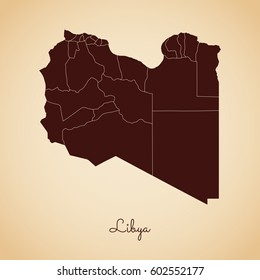 Libya region map: retro style brown outline on old paper background. Detailed map of Libya regions. Vector illustration.