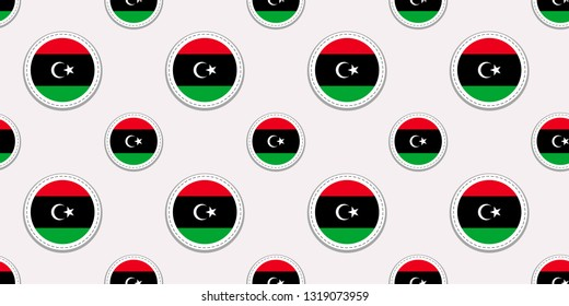 Libya round flag seamless pattern. National symbols background. Vector circle icons. Geometric stickers. Texture for sports pages, games, travelling design elements. patriotic wallpaper