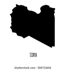 Libya vector black outline map with caption on white background.