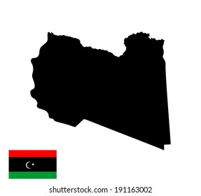 Libya vector map silhouette and flag isolated on white background. High detailed silhouette illustration. Country in north Africa. Arab league member state