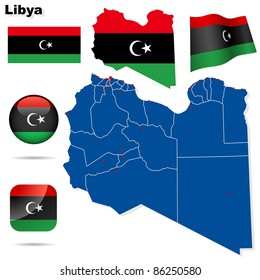 Libya vector set. Detailed country shape with region borders, flags and icons isolated on white background. Flag of National Transitional Council (2011).