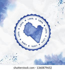 Libya watercolor round rubber stamp with country map. Blue passport stamp with circular text and stars, vector illustration.