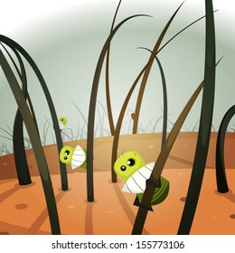 Lice Invasion Inside Hairy Landscape/ Illustration of a close up of funny cartoon louse insect colony hanging inside hair and skin landscape