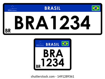 License car plate Brazil. Only graphical representation without scale or precision of the original elements.