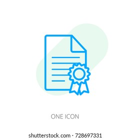 License icon. Style is line symbol, blue color, white background.
