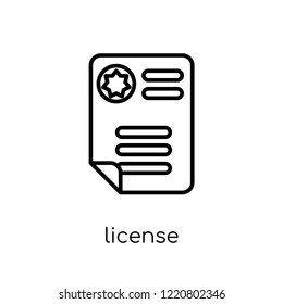 License icon. Trendy modern flat linear vector License icon on white background from thin line Insurance collection, editable outline stroke vector illustration