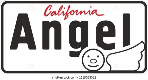 license number plate, Vehicle registration number. icon of the angel and the word California. Vector illustration