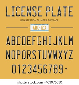 License Plate #2 / typeface with USA registration number / vintage typeface, font.