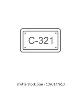 License plate, car icon. Element of auto service icon. Thin line icon for website design and development, app development. Premium icon