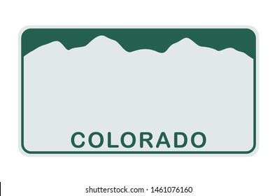 License plate of Colorado. Vector illustration on white background.