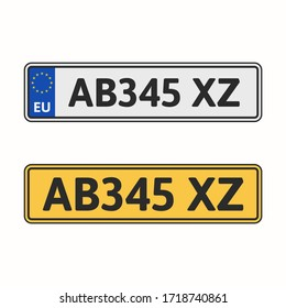 License plate of European Union. White and yellow number plate for vehicle with county code. Vector illustration, flat design, isolated on white background.