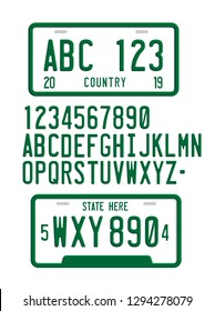 License Plate Font 3D Vector Template