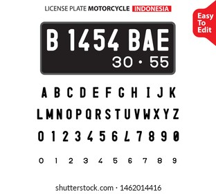 License plate font. Car and motorcycle identification number style letters set.