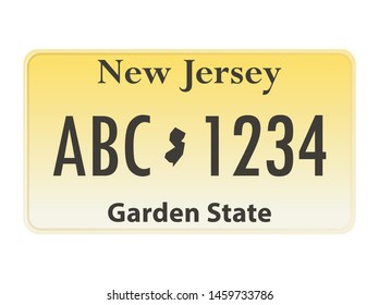 License plate New Jersey. Vector illustration on white background.