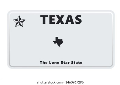 License plate of Texas. Vector illustration on white background.