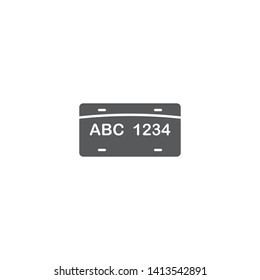 License plate vector icon, isolated on white background