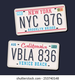 License plates typography, car parts, t-shirt graphics, vectors