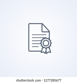 License, vector best gray line icon on white background, EPS 10