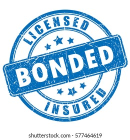 Licensed bonded insured rubber vector stamp on white background. Round business ink imprint.