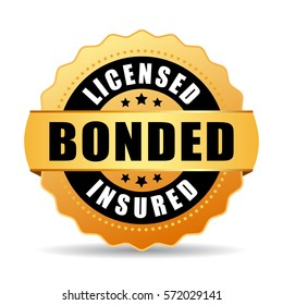 Licensed bonded insured vector gold icon illustration on white background