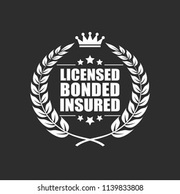 Licensed bonded insured vector icon isolated on black background