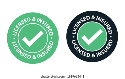 licensed and insured vector icon set with tick mark isolated on white background