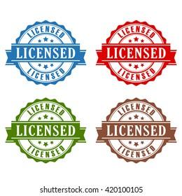 Licensed rubber stamp set vector illustration isolated on white background