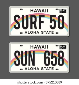 Licenses plates typography, surf typography, t-shirt graphics, vectors
