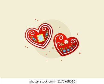 Licitar heart, traditional souvenir in Croatia. Decorated biscuits heart - licitar. Vector flat illustration.