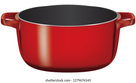Lidless cast-iron deep saucepan for cooking use