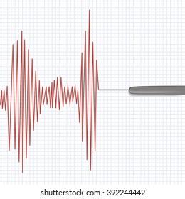 Lie detector test.Vector illustration.