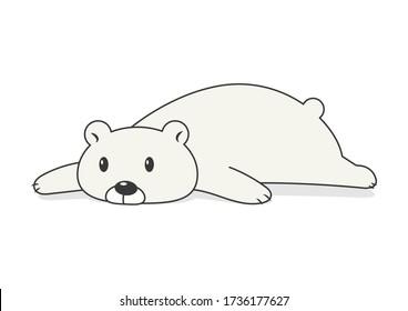 Lie down lazy bear vector cartoon isolated on white background. Cute fat polar bear cartoon.
