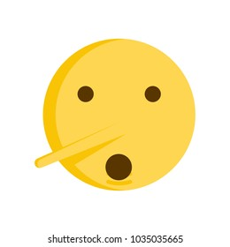 Lie emoticon concept. Vector emoji smiley icon with big nose
