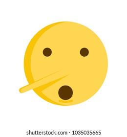 Lie emoticon concept. Vector emoji smiley icon with big nose