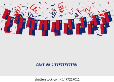 Liechtenstein flag with confetti on white background, Hang bunting for Liechtenstein celebration template banner.
