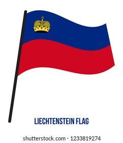 Liechtenstein Flag Waving Vector Illustration on White Background. Liechtenstein National Flag.