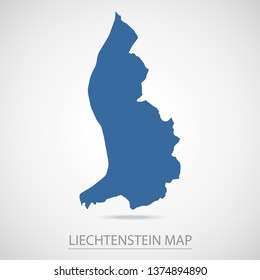 Liechtenstein map. Blue Liechtenstein map and Country name . Vector map on gray background. Symbol for your web site design map logo. app, ui, Travel vector eps10, concept Illustration.