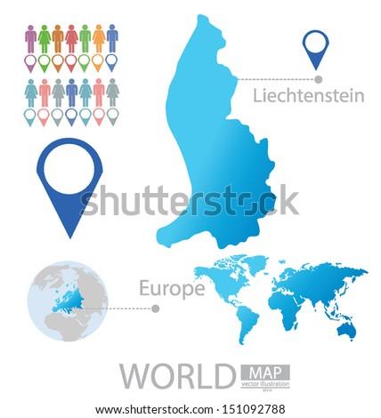 Liechtenstein Map Europe Modern Globe Vector Stock Vector Royalty