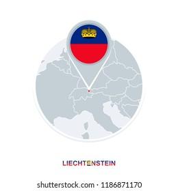 Liechtenstein map and flag, vector map icon with highlighted Liechtenstein