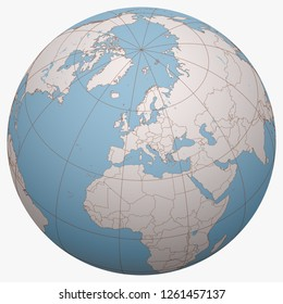 Liechtenstein on the globe. Earth hemisphere centered at the location of the Principality of Liechtenstein. Liechtenstein map.