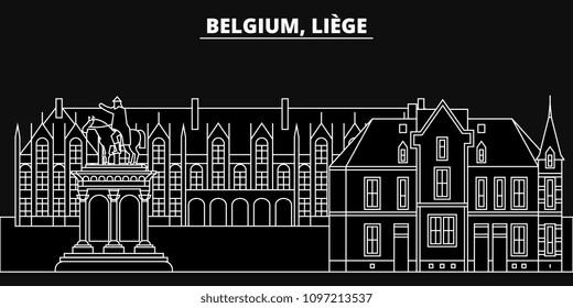 Liege silhouette skyline. Belgium - Liege vector city, belgian linear architecture, buildings. Liege line travel illustration, landmarks. Belgium flat icons, belgian outline design banner