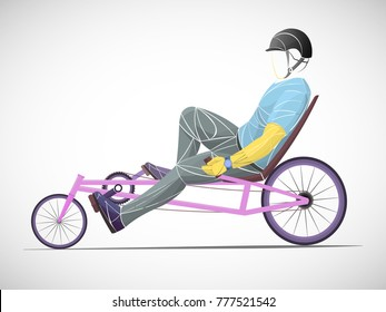 liegerad bike, stylized athlete, cyclist vector