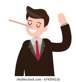 lies , cheat , hoax businessman character. vector illustration.