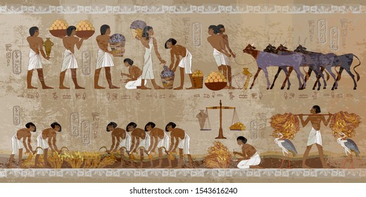 Life in ancient Egypt, frescoes. Egyptians history art. Agriculture, workmanship, fishery, farm. Hieroglyphic carvings on exterior walls of an old temple