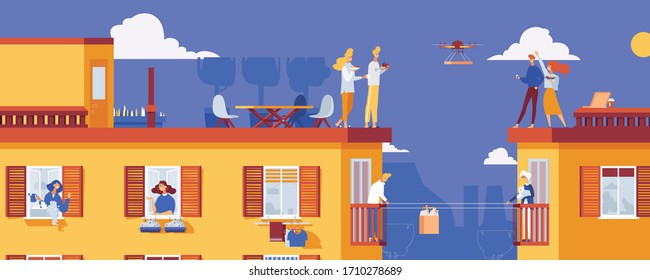 Life in an apartment building in quarantine. Vector concept illustration with neighbours keeping social distance. City with kind people