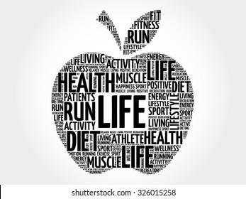 LIFE apple word cloud concept