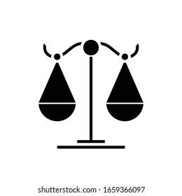 Life balance black icon, concept illustration, vector flat symbol, glyph sign.